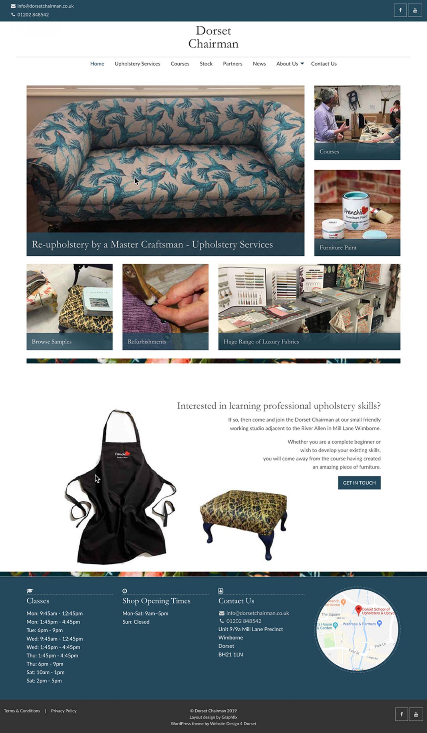 Dorset Chairman website layout design