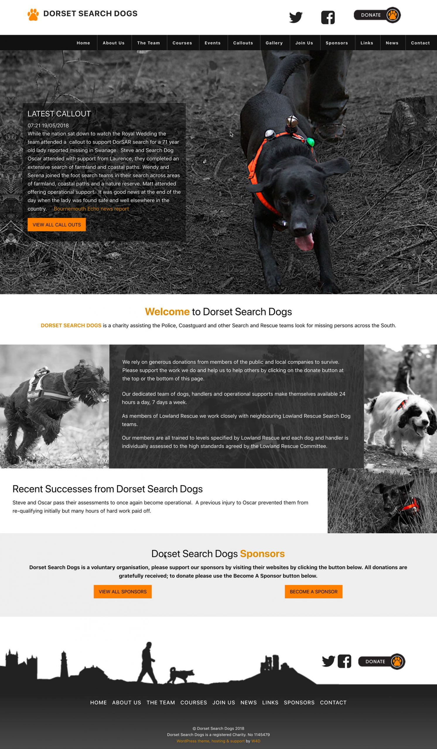 Website Layout Design created for Dorset Search Dogs for a Custom WordPress theme