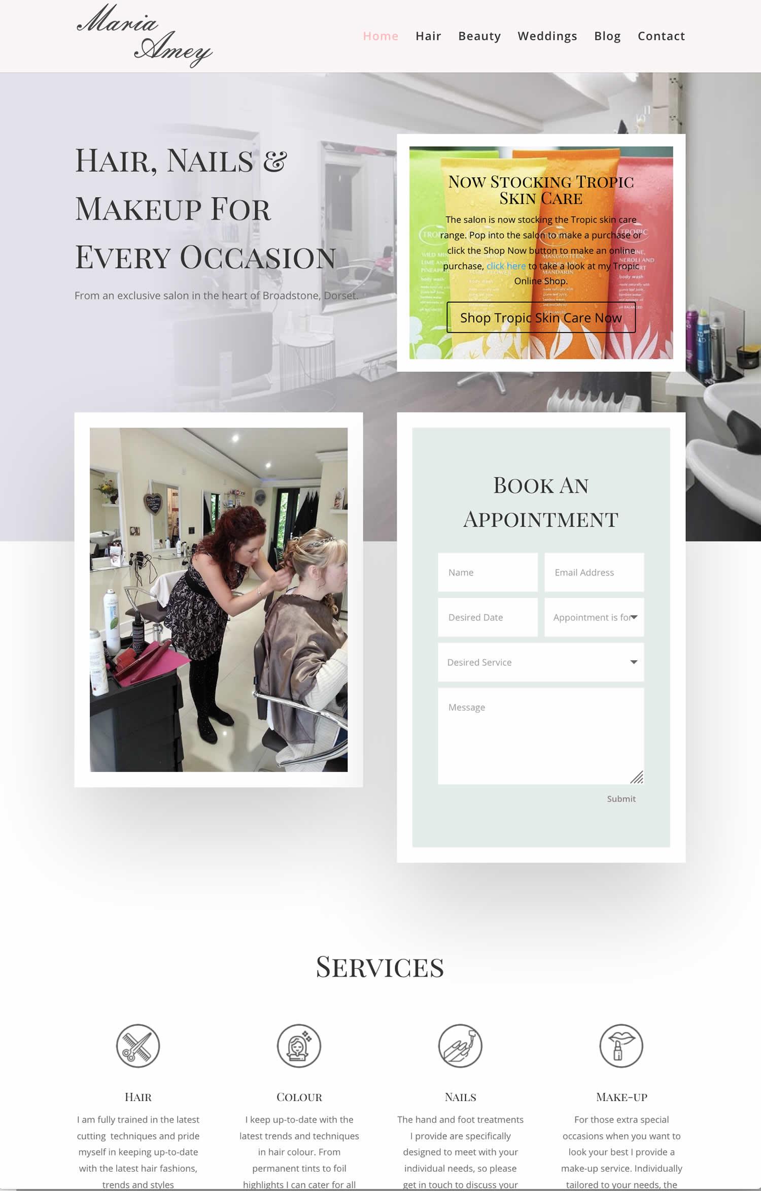 hairdresser website design based in Dorset