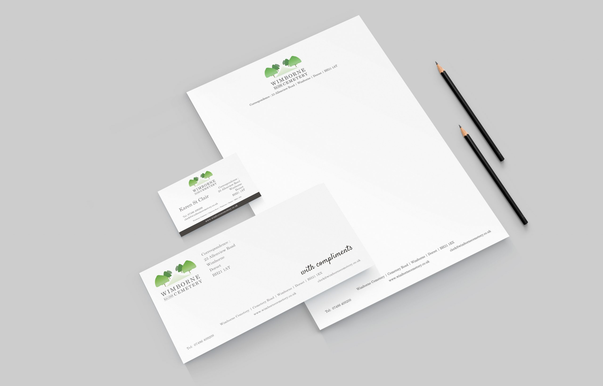 Business stationery & logo design created for Wimborne Cemetery