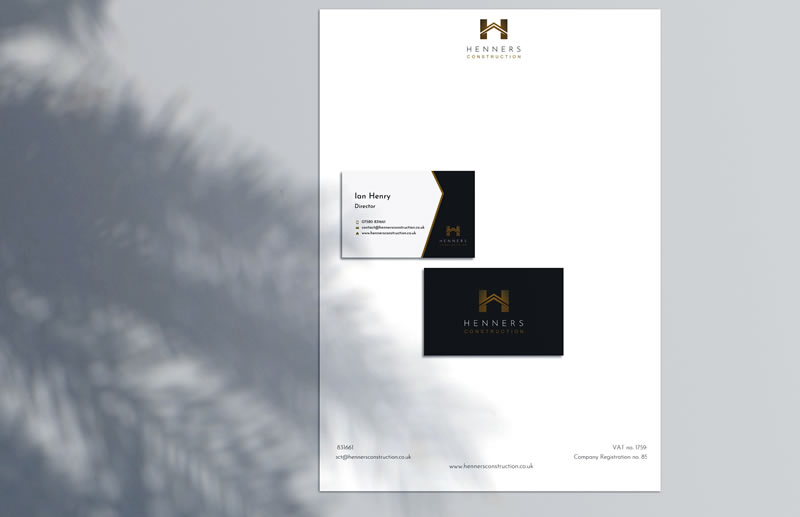 Stationery Design, business cards & letterhead paper Henners