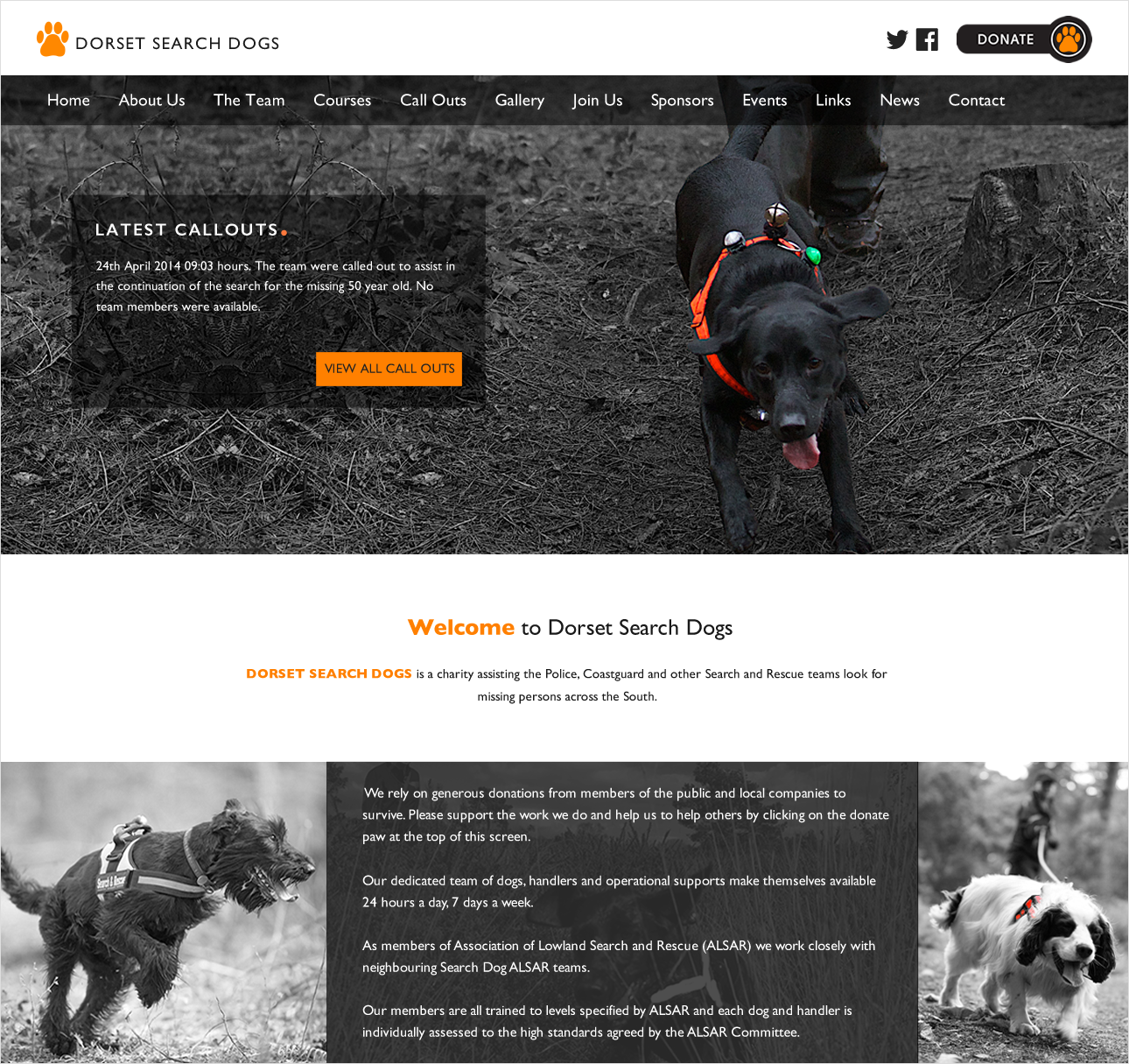 website layout designed for Dorset Search Dogs