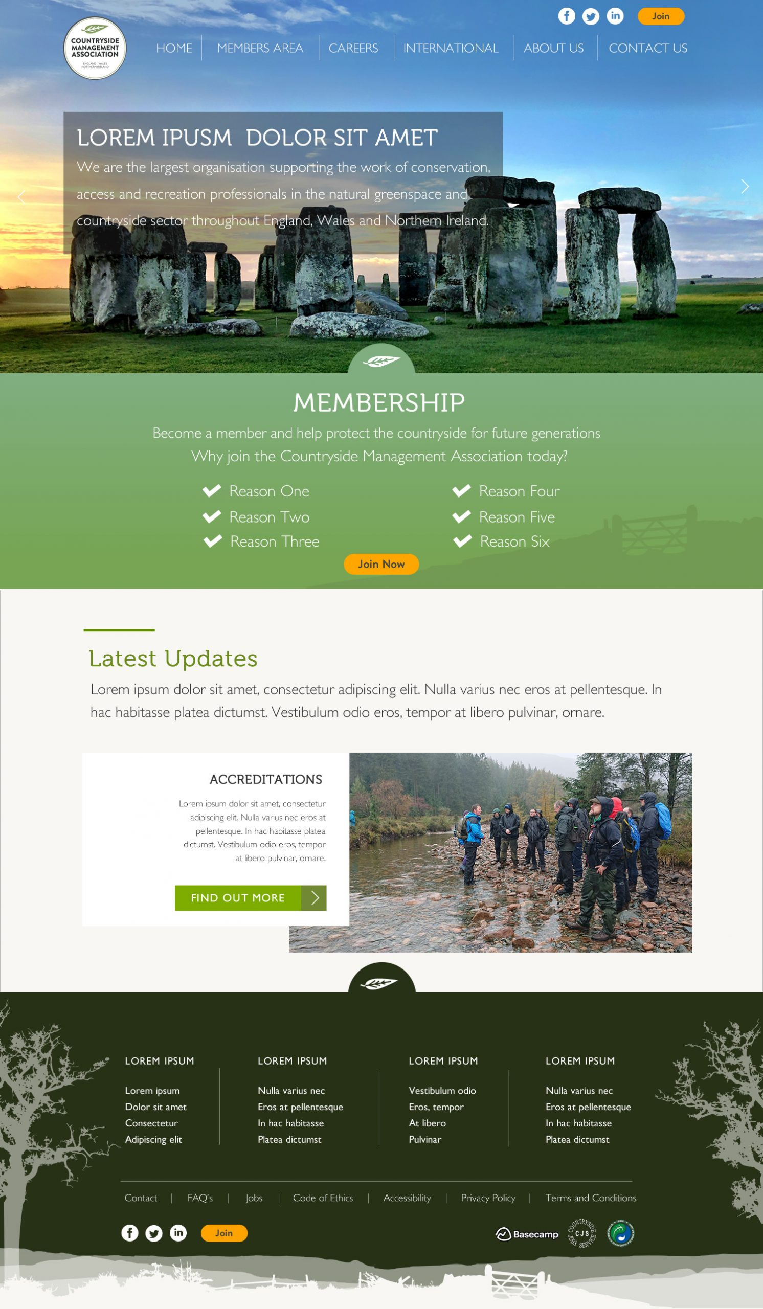 Website layout desig created for Countryside Management Association for WBSys in Wimborne Dorset