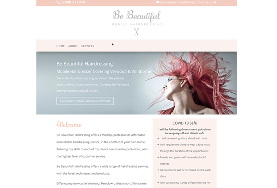 Website designed for Be Beautiful Mobile Hairdressing in Dorset